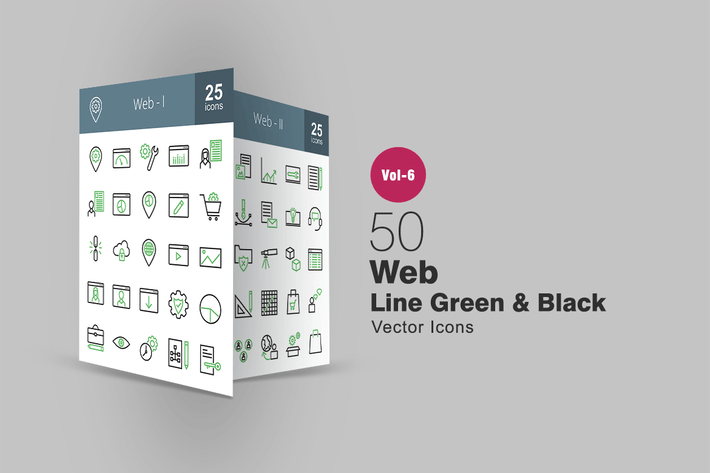 Thumbnail for 50 Web Interface Green & Black Line Icons