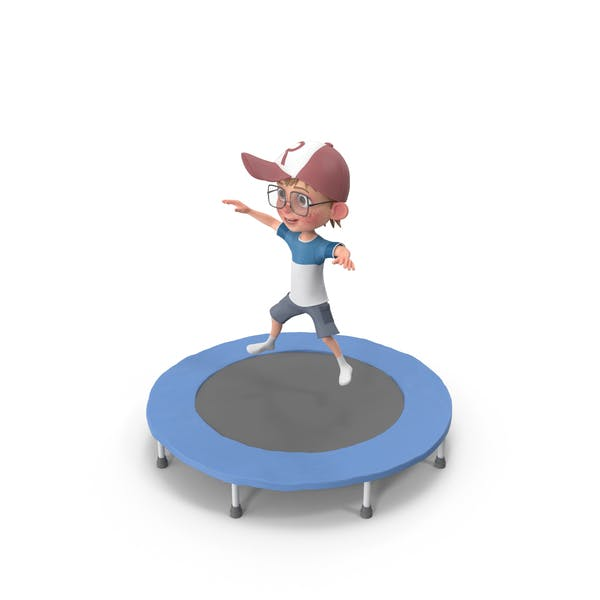 Thumbnail for Cartoon Boy Harry Jumping On Trampoline