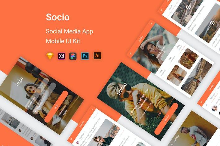 Thumbnail for Socio-Social Media Mobile App UI Kit