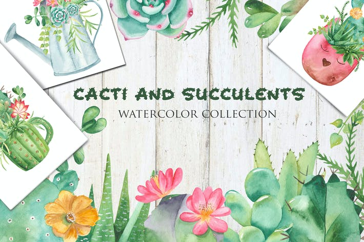 Thumbnail for Watercolor Cacti and Succulents