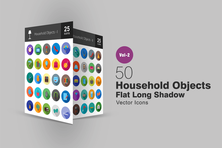 50 Household Objects Flat Long Shadow Icons
