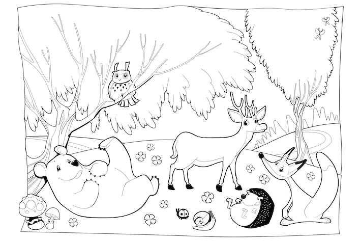 Thumbnail for Animals in the Wood, Black and White