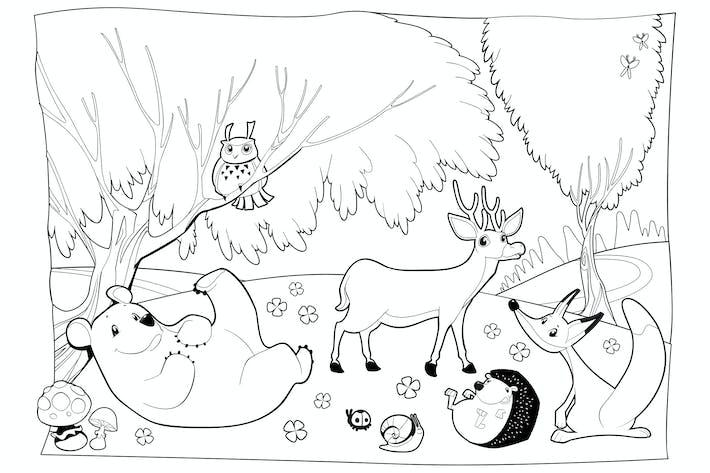 Thumbnail for Tiere im Wald, Schwarz und Weiß