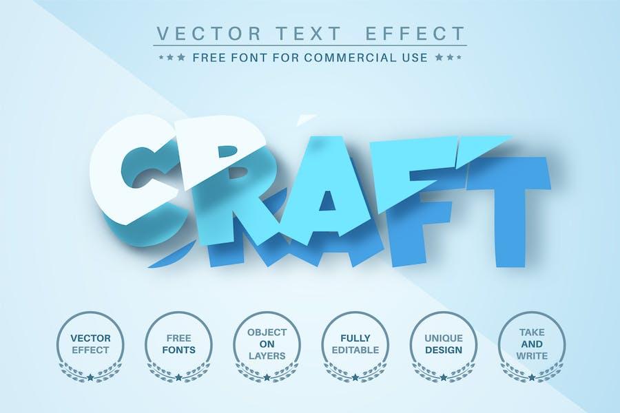 Cut blue paper - editable text effect,  font style