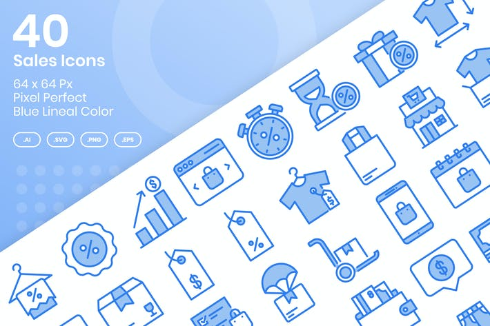 Thumbnail for 40 Sales Icons Set - Blue Lineal Color