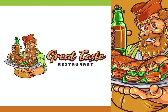 Thumbnail for Cartoon Chef Holding Hotdog Character Mascot Logo