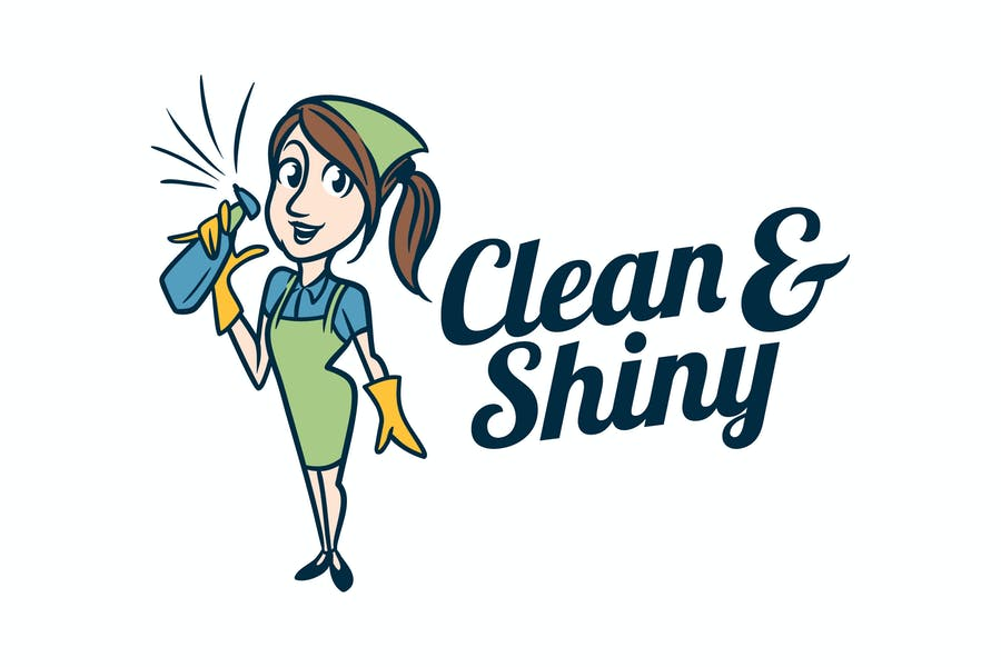 Retro Vintage Cleaning Service Maid Mascot Logo