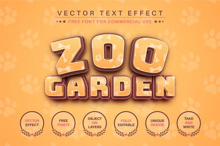 Zoo Garden - editable text effect, font style