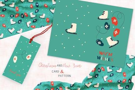 Patines y manoplas tarjeta de felicitación y patrón