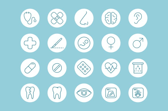 Thumbnail for Healthcare Blue Icons / 3 Different Sheets