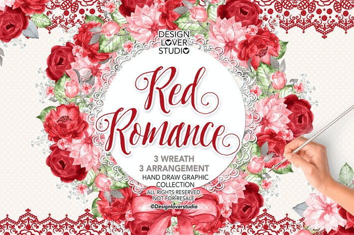 Thumbnail for Watercolor RED ROMANCE wreaths