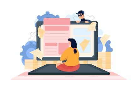 Computer Spyware Attack Illustration Concept