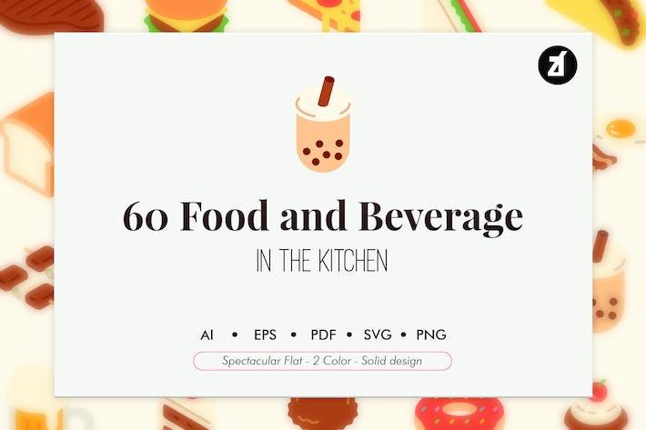 60 Lebensmittel- und Getränkeelemente Packung