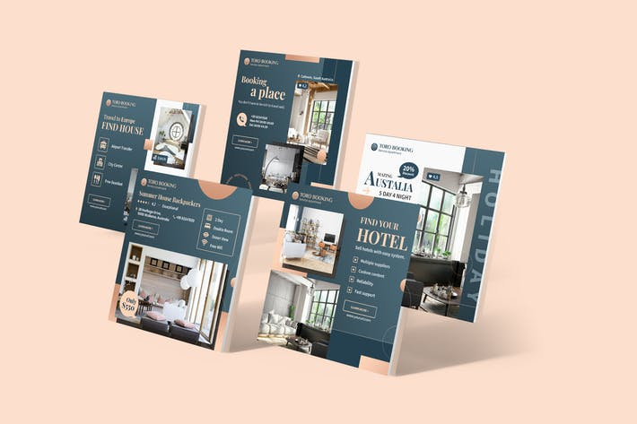 Thumbnail for Hotel & Travel Agency Instagram Posts PSD Template