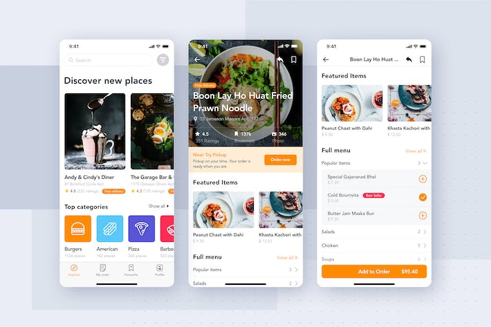 Cover Image For Food Delivery App UI Kit for ADOBE XD