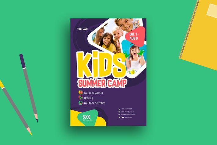 Thumbnail for Kids Camp Poster+Flyer