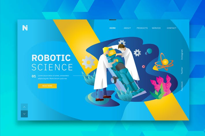 Thumbnail for Robotic Science Web Header PSD and AI Template