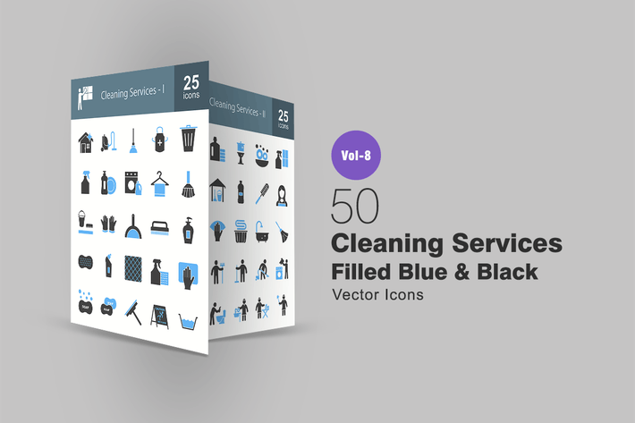 Thumbnail for Cleaning services Blue & Black Icons