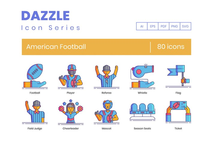 Thumbnail for 80 American Football Line Icons