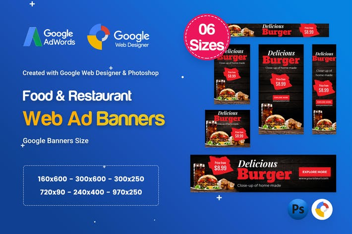 Thumbnail for Food & Restaurant Banners HTML5 Ad D65 - GWD & PSD