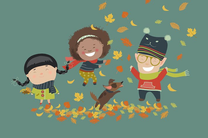 Thumbnail for Kids playing with autumn leaves. Vector
