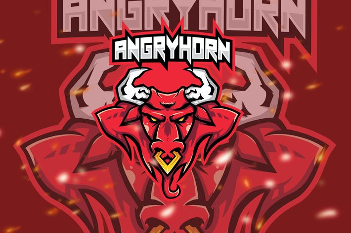 Thumbnail for Angry Horn Animal Esport Gaming Logo