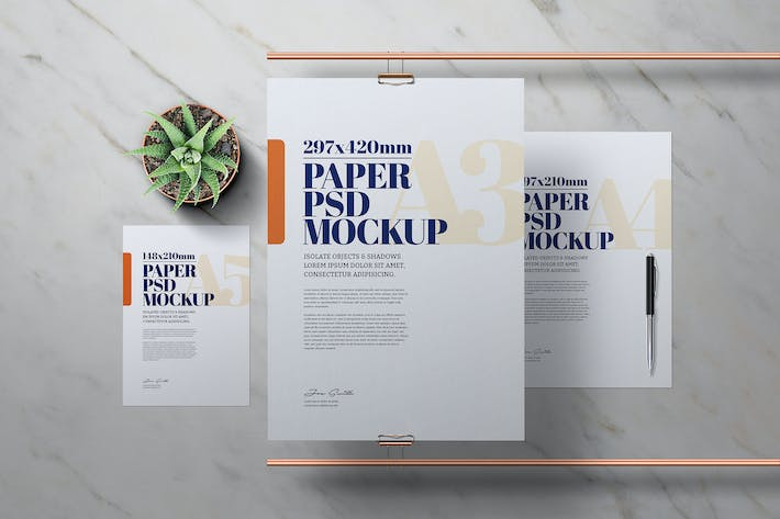 A3 A4 A5 Flyer Poster Mockup Copper Pipe