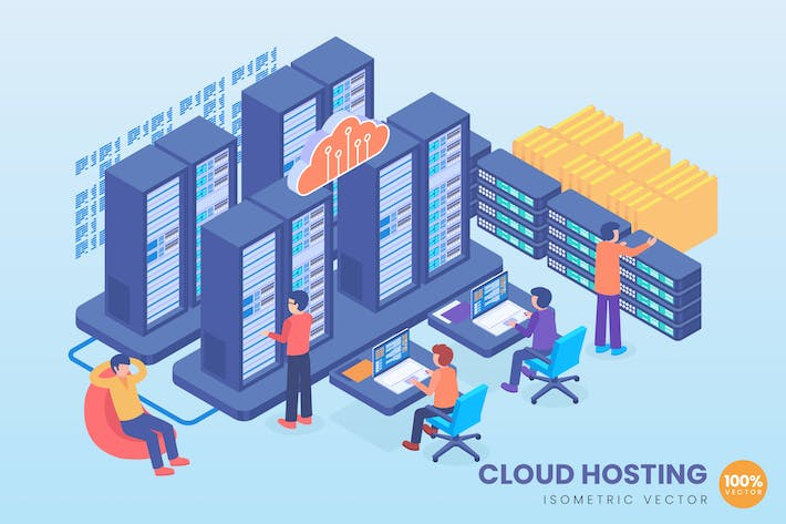 Cover Image For Isometric Cloud Hosting Technology Vector Concept