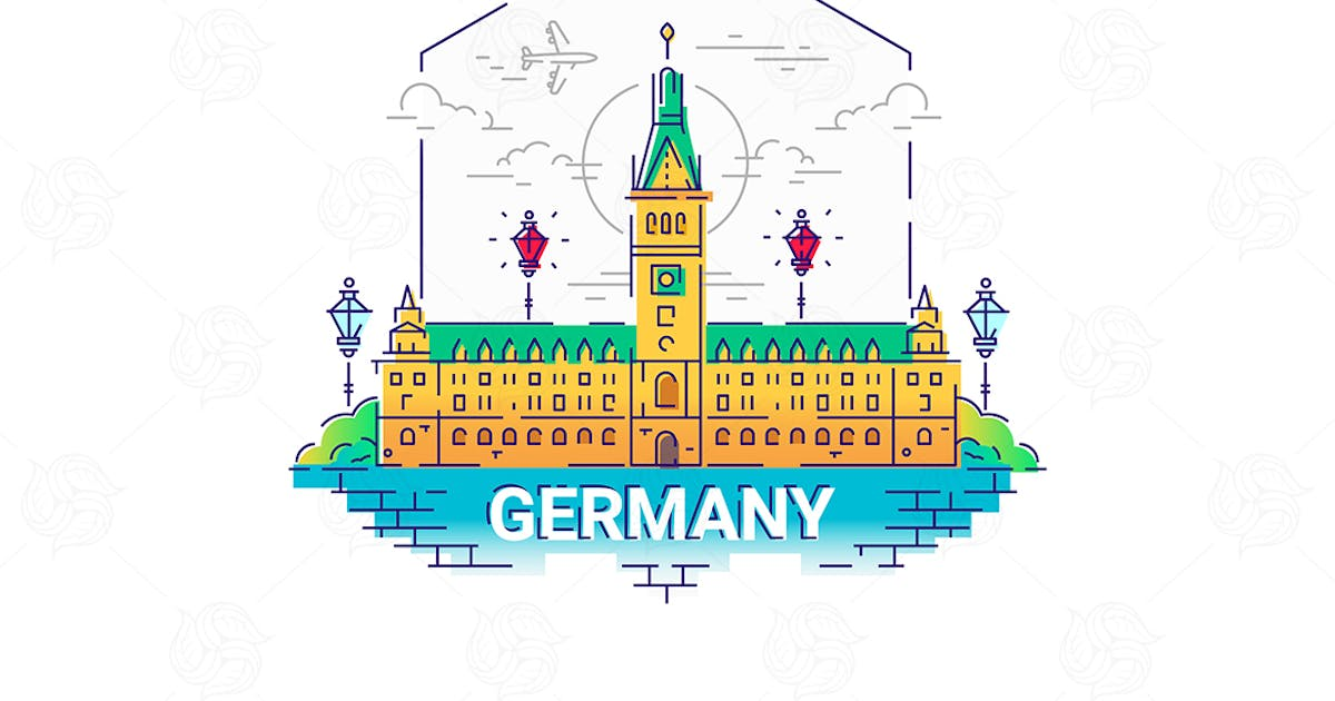 Germany - modern vector line travel illustration by BoykoPictures