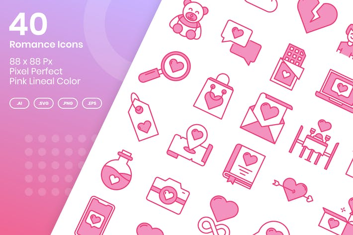 40 Romance Icons Set - Pink Lineal Color