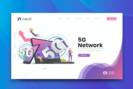 5G Network Web PSD and AI Vector Template