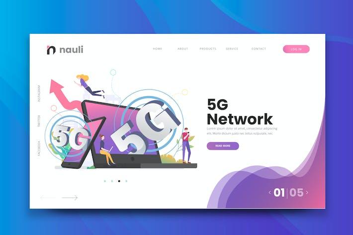 Thumbnail for 5G Network Web PSD und AI Vektor Vorlage
