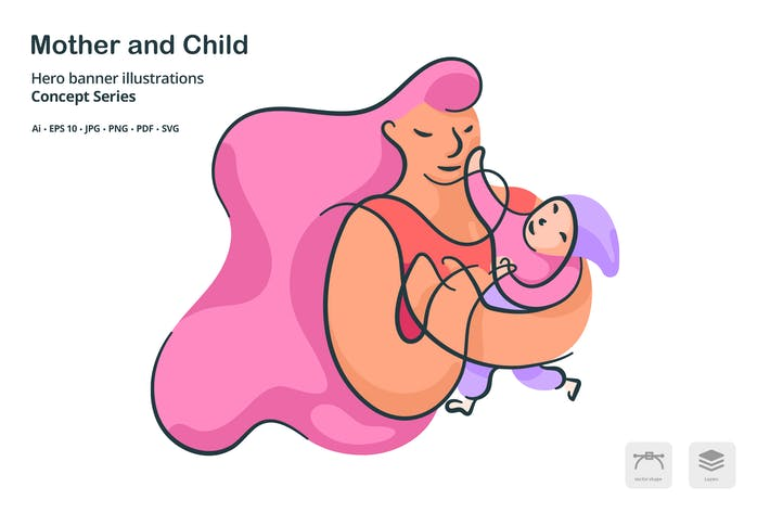 Thumbnail for Mother Child Vector Illustration