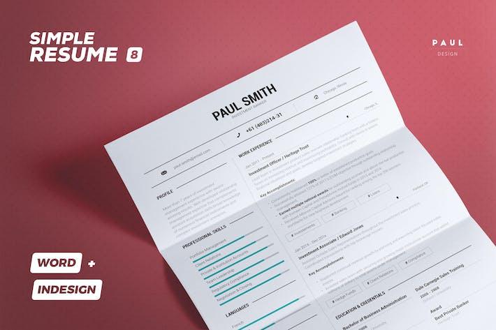 Thumbnail for Simple Resume/Cv Volume 8