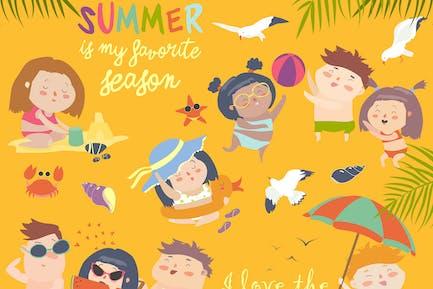 Sommer-Kinder Outdoor-Aktivitäten. Strandurlaub.