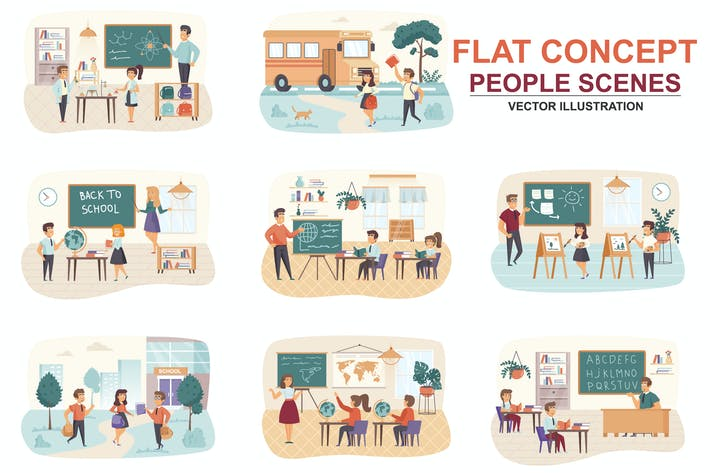 Thumbnail for Collection Back to School Flat Concept Scenes