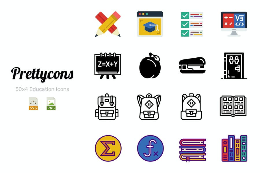 Prettycons - 200 Education Icons Vol.1