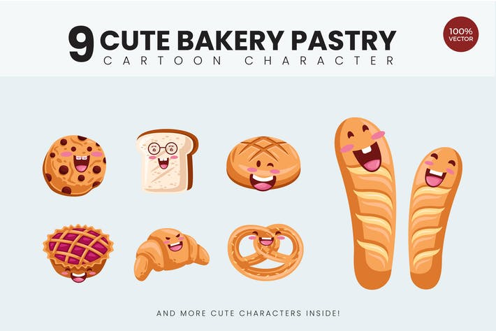 Thumbnail for 9 Cute Bakery Pastry Vector Illustration Vol.1