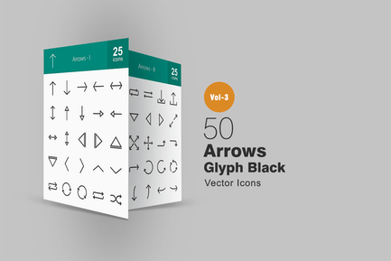 50 Arrows Glyph Icons