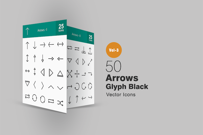 Thumbnail for 50 Arrows Glyph Icons