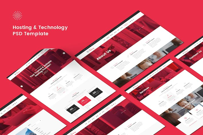 Thumbnail for Hosting & Technology PSD Template