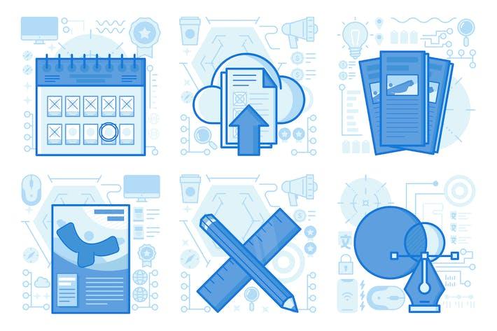 Poster und Broschüre UI UX Illustrationen