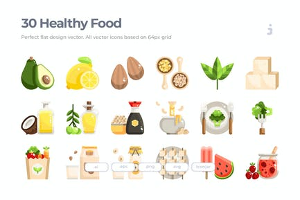 30 Healthy food and Vegan Icons - Flat