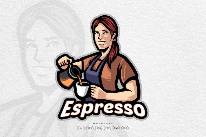 Happy Woman Barista Preparing Coffee Mascot Logo