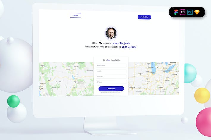 Thumbnail for Real Estate Agent Landing Page Template