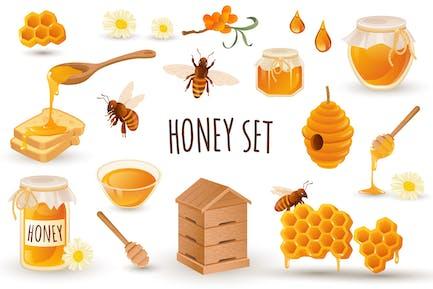 Honey Production Realistic 3D Elements