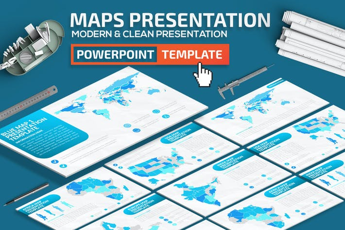 Thumbnail for Blue Map Powerpoint Presentation