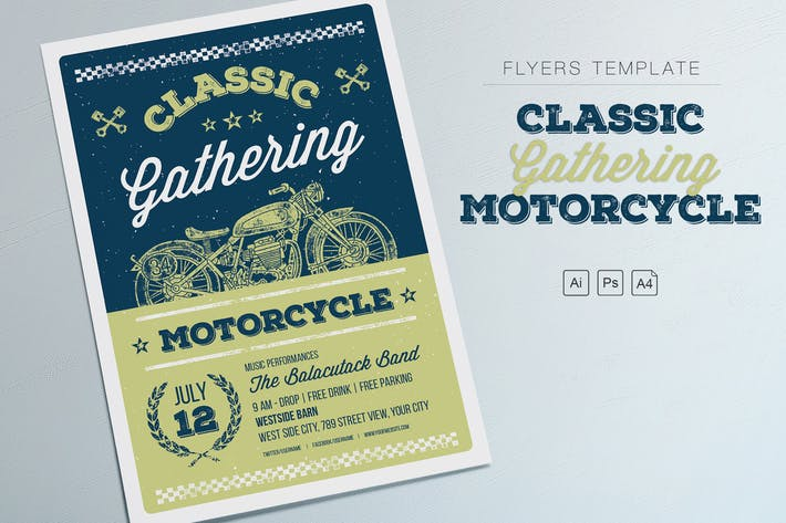 classic gathering motorcycle flyers by me55enjah on envato elements