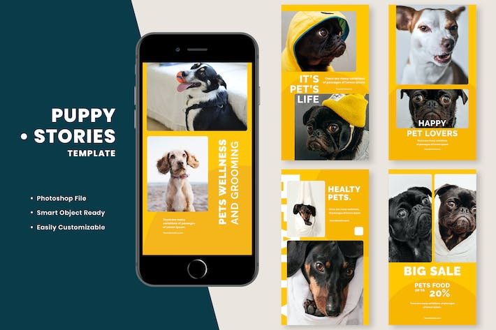 Cover Image For Puppy Instagram Stories Template