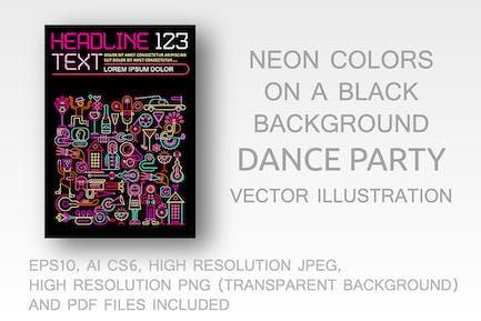 Dance Party Neon Farben Flyer Design
